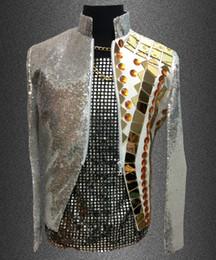Wholesale Sequin Jacket Top - Plus size Men sequins mirror slim jacket Paillette reflective lens rivet suit male ds costume outerwear coat blazer suit top