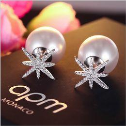 Wholesale Monaco Silver - Apo monaco new s925 sterling silver star pearl earrings anti - allergic micro - zircon earrings burst free shipping