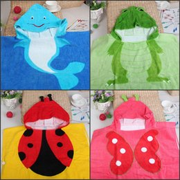Wholesale Poncho Towels - Cartoon Butterfly Frog Ladybugs Printed Baby Kids Hooded Bath Towels Cotton Children Hooded Poncho Towel Bathrobes Kids Towels Wholesale