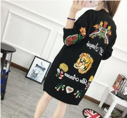 Wholesale Cardigan Butterfly Knitted - New Fashion Women's Casual Jacket embroidery tiger flowers butterfly knitting cardigan sweater Woman Long Coat black