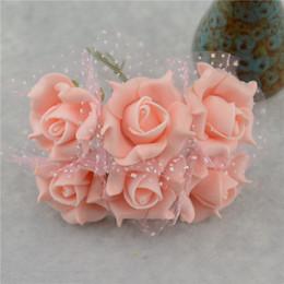 Wholesale Orange Rose Garland - Wholesale- 12pcs Lace Foam Pentagon Rose Artificial Flower Bouquet For Wedding Car Decoration DIY Garland Decorative Floristry Fake Flowers