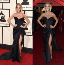 Wholesale Grammy Awards Sexy Prom Dress - Carrie Underwood Black Split Evening Dresses Sexy Sweetheart The 58th Grammy Awards Long Red Carpet Celebrity prom Gowns 2017