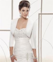 Wholesale Bride White Long Sleeve Shawl - 2018 Satin 3 4 sleeve shrug jacket wedding Bride bolero coat shawl Wraps jackets for bride winter
