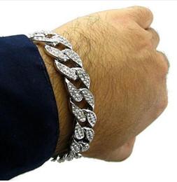 Wholesale Cuban Bracelet Silver - 2017 Men's Bracelet Hip Hop Luxury Simulated Diamond G Silver Plated Fashion CZ Iced Out Cuban Bracelet