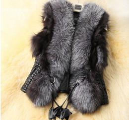 Wholesale Wholesale Furs Coats - Autumn Spring and Winter High Imitation Faux Fox Fur Vest Gilet Outerwear Women's Coat 6size