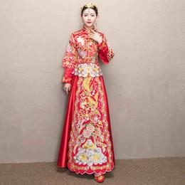 Wholesale Kimono Chinese Wedding Dress - Chinese dress wedding dress bride wedding toast service Longfeng gown show kimono new costume wedding