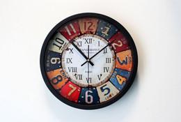 Wholesale Clocks European Vintage - Wholesale-Retro European Metal Drawing Style Creative Wall Clock Quartz Silent Movement For Country Vintage Home Decoration