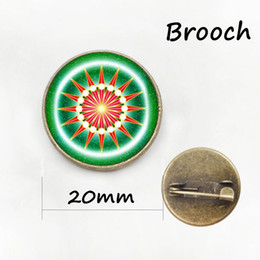Wholesale Eyeball Glasses - Dragon eyeball pin art picture glass cabochon dome brooches frost dragon eye badge yoga mandala flower brooch jewelry