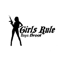 Wholesale Girls Car Sticker - 15.2CM*10CM Girls Rule Boys Drool Machine Gun Car Sticker Vinyl Decal Decorate Sticker JDM