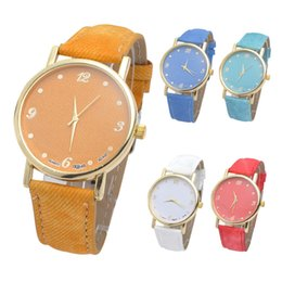 Wholesale News Glass - Fashion Unisex Quartz Watches Men Sports Watches Denim Fabric Women Dress Watch News Paper wristwatch Design hours saat