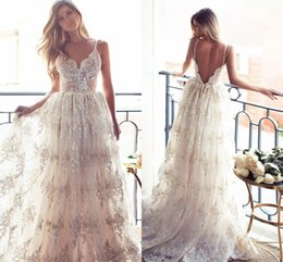 Wholesale Vintage Pretty Bridal - 2017 Charming Pretty Full Lace Wedding Dresses Sexy Spaghetti Straps Open Back Lace Applqiues Sweep Train Beach Garden Bridal Gowns