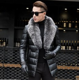 Wholesale Genuine Leather Fox Fur - 2017 New Men's Genuine Sheepskin Leather Down Coat With Natural Silver Fox Fur Collar Black Real Leather Jacket Outerwear Winter