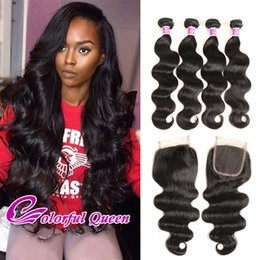 Wholesale Malaysian Bodywave Hair - Malaysian Body Wave 4Pcs Hair with Closure 7A Unprocessed Virgin Human Hair 4 Bundle with Lace Closure Malaysian Hair Bodywave 5 Pcs Lot