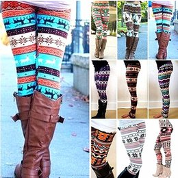 Wholesale Thick Knitted Pants - 15 Colors Knitted Women Stretchy Pants Xmas Snowflakes Reindeer Print Leggings Nordic Thick Warm Bootcut Navidad Christmas Gift One Size