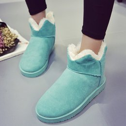 Wholesale Flat Platforms Boots - Wholesale-Fashion Women Thicked Fur Warm Slip on Snow Boots Winter Casual Flats Cotton Shoes Nubuck Leather Platform Woman Ankle Boots
