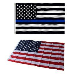 revestimiento de poliéster al por mayor Rebajas 50 UNIDS Policía EE. UU. Bandera Línea Azul Delgada Poliéster 3x5ft 90x150 cm Estrellas Americanas Rayas Banderas Memorial Ojetes de Aplicación de la Ley Al Por Mayor