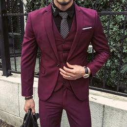 Wholesale Mens Dress Burgundy Suit - Wholesale- Men New Suits 2017 Burgundy Tuxedo Jackets Groom Wedding For Mens Slim Fit 3 Piece Dress Jaqueta Masculino Stylish Casamento