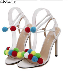 Wholesale Lace Fabric Bridesmaid - Wholesale-2 style pompom fuzzy ball Multi coloured sandals strappy ankle strap womens fashion wedding bridesmaid strappy pumps red white