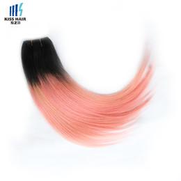 Wholesale Human Hair Straight Gold - 4 Bundles T 1b Pink Rose Gold Silky Straight Ombre Human Hair Weave Colored Peruvian Hair Bundles Brazilian Malaysian Indian Cambodian Hair