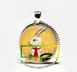 Wholesale Magic Bunny - Wholesale Handmade White Rabbit Necklace,Magician's Jewelry,Bunny with Top Hat Magic Trick Art Pendant Glass cabochon Necklace