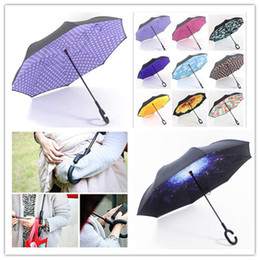 Wholesale Blue Sky Umbrella Clouds - C Handle Inverted Umbrellas Galaxy Windproof Inside Out Umbrella Double Layer Reverse Umbrella Blue Sky Clouds Umbrella for Car Outdoor