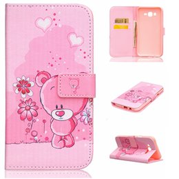 Wholesale Cute Card Designs - Cute Pink Bear Flower Design Pu Leather Flip Stand Wallet Card Slots Pouch Cover Case For Samsung Galaxy J7 J700 J700F New