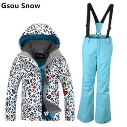 Wholesale Leopard Jackets Kids - Wholesale- Gsou snow childrens ski suit girls skiing suit parent-child ski suit kids leopard print ski jacket and blue pants skiwear anorak