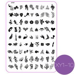 Wholesale Large Nail Art Stamping Plates - New Nail Art Plate Flower Butterfly Lips Letter Lips Diamond Cartoon Polish Large Stamping Template Manicure Nails Beauty 2017