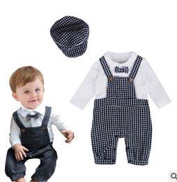 Wholesale Baby Boy Clothes Black Tie - Baby rompers 2017 new baby Boys suspender lattice jumpsuit toddler kids bows tie cotton suspender romper children climb clothing G0171