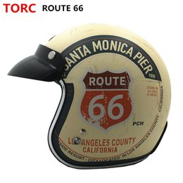 Wholesale Helmet Sale Moto - Wholesale- Hot sale TORC T50 Route 66 Motorcycle helmet jet Vintage helmet Open face retro 3 4 half helmet casco moto capacete motociclismo