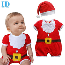 Wholesale Red Zebra Headband - IDGIRL Baby Christmas Romper Baby Boys Girls Clothes Christmas One Piece Rompers Costume Kids Clothing(Romper + Hat ) JY0257