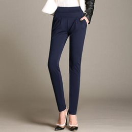 Wholesale Elegant High Waist Trousers - New Design Women's OL Loose Pants Solid Elastic Waist Harem Pants Formal Elegant Work Wear Office Lady Long Trousers AXS