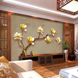 Wholesale Customized Wedding Paintings - Customize Mural Wallpaper Designs Chinese - style Retro Painting Golden Magnolia Wall Mural Living Room Wall Decor Wall Coverings