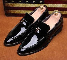 Wholesale Office D - New Brand Luxury Leather Men Dress Shoes Patent Leather Loafers Shoes Pointed Toe Slip On Business Moccasin Flats Free Shipping