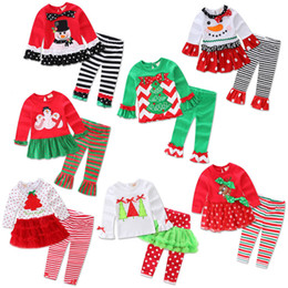 Wholesale First Birthday Outfits - My First Christmas Outfits For Baby Girl Set Clothing China Fashion Kid 1st Birthday Dresses+Legging 2pc Suit Boutique Clothes