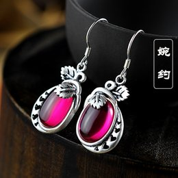Wholesale Small Leaves Plants - New listing ladies matte red corundum small fresh leaves of fruit S925 silver earrings wholesale and retail free shipping