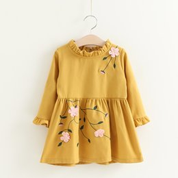 Wholesale Embroidered Long Sleeve Dress - Everweekend Girls Ruffles Floral Embroidered Princess Party Dress Long Sleeve Autumn Winter Cute Children Fashion Dresses
