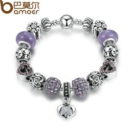 Wholesale Glass Strands - Pandora Style Silver Color Strand Bracelet Elegant Purple Heart Pendant Bracelets with Glass Beads for Women Charm Bracelet PA1486