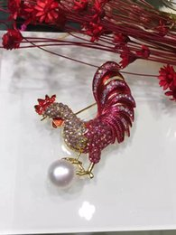 Wholesale Crystal Pearl Swarovski - Fashion 18K Gold Plated 10-11mm Pearl Swarovski Crystal Rooster Design Brooch Pins for Women's Jewelry Wedding Party Gift ***Free Shipping
