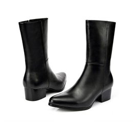 Wholesale Mens High Bar - new mens fashion pointed toe zip genuine leather dress boots high heels nightclub bars career work boots shoes
