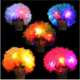 Wholesale Wig White Short Curly - LED Flashes Explosion of Head Curly Cosplay Wig Fans Wig Clown Halloween Decoration Colorful Luminous Headgear Party Wig led Cosplay Wigs