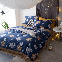 Wholesale Blue Coverlet Queen - Pastoral style blue bedding set floral pillowcase soft bedspread coverlet queen king twin full duvet cover 100% Egyptian cotton