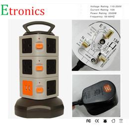 Wholesale Usb Power Surge Protector - Wholesale- 2500W Power outlet 12-Outlet Surge Protector with 2 USB Output Power Strip Charging Station - 6 Feet Cord UK AU US EU power Plug