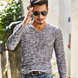 Wholesale Wholesale Black Long Sleeve Shirt - Wholesale- 2017 Spring Autumn Winter Men Tops Fashion V-Neck Slim Fit Long Sleeve T-Shirt Men Trend Sexy Casual Men T-Shirt Korean T-Shir