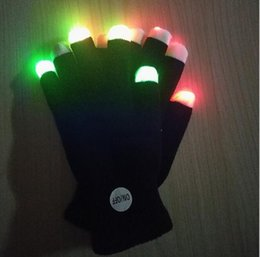 Wholesale Light Up Gloves Wholesale - Flash gloves 7 color party led lighted toy gloves Halloween costume glowing glove led finger light light up goves for party music concert