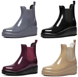 Wholesale Womens Fashion Rain Boots - Wholesale-4 Color Fashion Snow Rain Boots Womens Ladies Round Toe Wedge Platform Mid Heel Ankle Jelly Rain Boots Waterproof Shoes US5-US9