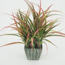 Wholesale Terracotta Pot Wholesale - Coloured Artificial Grasses With terracotta Pots Table Flower Green Bonsai Display Flower with Tapered Square pots for Home Decor 125-1025