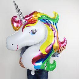 Wholesale Mylar Balloon Toys - Unicorn Aluminum mylar Foil Balloon Animal Horse Decor for Birthday Baby Shower Party Wdding Child Toys