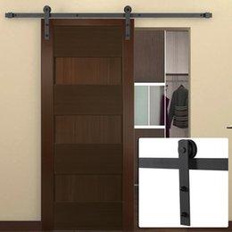 Porta portas de armário deslizante on-line-Preto fosco 6FT antigo Country Style aço deslizante Barn Door Closet Hardware