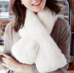 Wholesale Camouflage Winter Shawl - Winter Scarf Women Necklace Rex Rabbit Fur Scarfs Luxury Brand Shawl Full Pelt Genuine Fur Collar 90x20cm thicken hair muffler Warm scarves